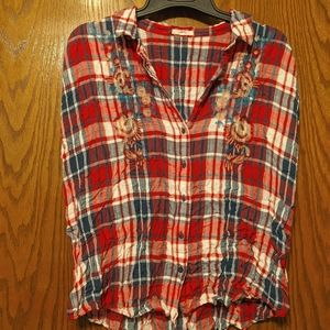 Button-Up Red White & Blue Tank